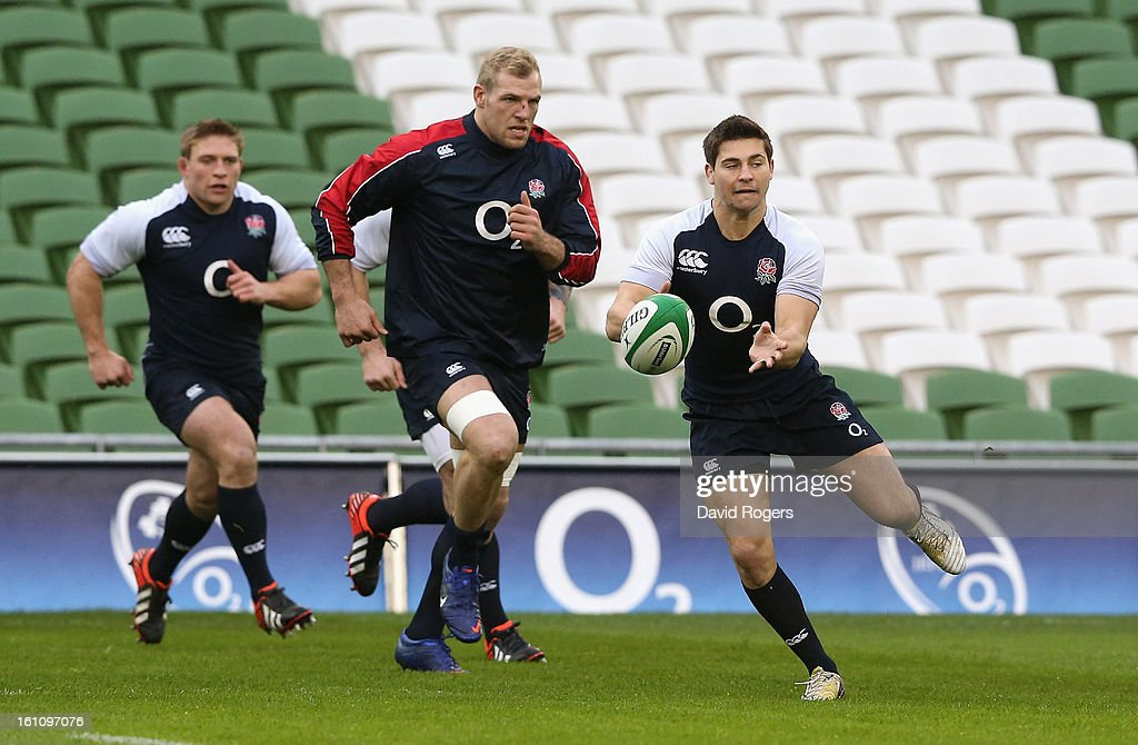 <a gi-track='captionPersonalityLinkClicked' href=/galleries/search?phrase=Ben+Youngs&family=editorial&specificpeople=3970947 ng-click='$event.stopPropagation()'>Ben Youngs</a> passes the ball during the England captain's run at the Aviva Stadium on February 9, 2013 in Dublin, Ireland.