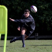 Ben Youngs passes the ball during the England training session at Pennyhill Park Hotel on October 27 2010 in Bagshot England