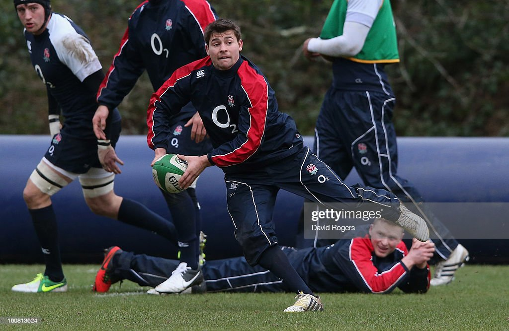 <a gi-track='captionPersonalityLinkClicked' href=/galleries/search?phrase=Ben+Youngs&family=editorial&specificpeople=3970947 ng-click='$event.stopPropagation()'>Ben Youngs</a> passes the ball during the England training session held at Pennyhill Park on February 6, 2013 in Bagshot, England.
