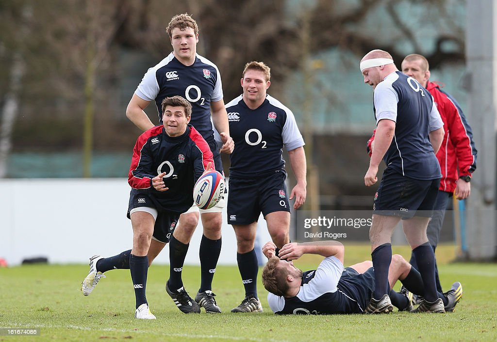 Ben Youngs passes the ball during the England training session held at St Georges Park on February 14, 2013 in Burton-upon-Trent, England.