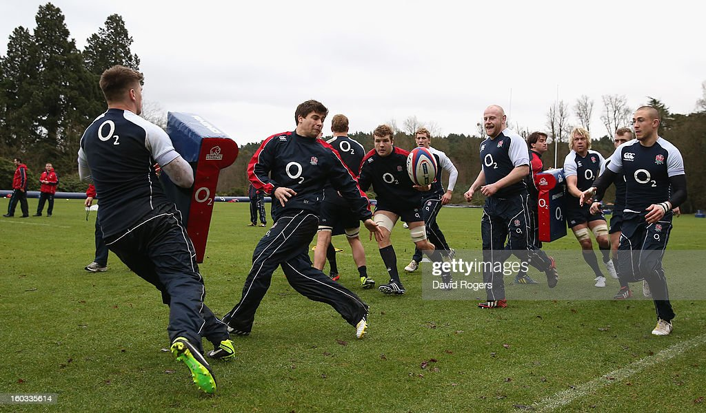 <a gi-track='captionPersonalityLinkClicked' href=/galleries/search?phrase=Ben+Youngs&family=editorial&specificpeople=3970947 ng-click='$event.stopPropagation()'>Ben Youngs</a> runs with the ball during the England training session at Pennyhill Park on January 29, 2013 in Bagshot, England.