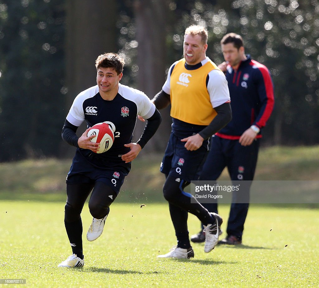 Ben Youngs runs with the ball during the England training session at Pennyhill Park on March 14, 2013 in Bagshot, England.