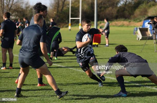 Ben Youngs runs with the ball during the Leicester Tigers training session held on October 17 2017 in Leicester England