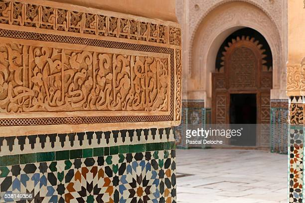 Ben Youssef Medersa is the largest Medersa in Morocco, Originally a religious school founded under Abou el Hassan. Calligraphy and zellij in the patio.
