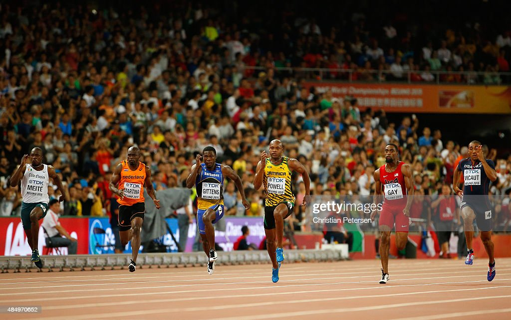 Ben Youssef Meite of Cote d'Ivoire Churandy Martina of the Netherlands Ramon Gittens of Barbados Asafa Powell of Jamaica Tyson Gay of the United...