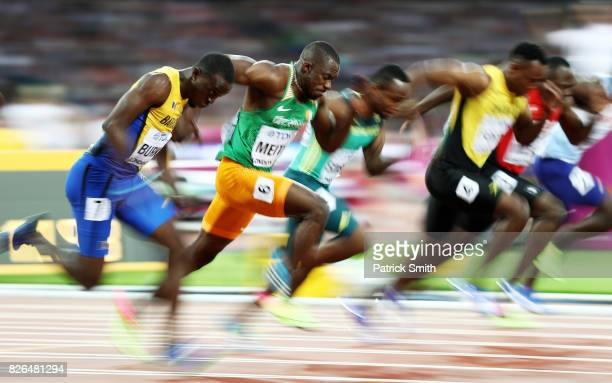 Ben Youssef Meite of Cote d'Ivoire competes in the Men's 100 metres heats during day one of the 16th IAAF World Athletics Championships London 2017...