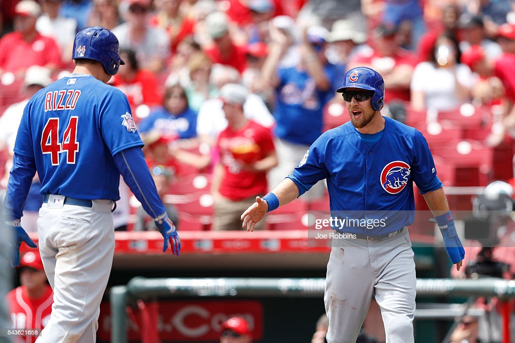 <a gi-track='captionPersonalityLinkClicked' href=/galleries/search?phrase=Ben+Zobrist&family=editorial&specificpeople=2120037 ng-click='$event.stopPropagation()'>Ben Zobrist</a> #18 and <a gi-track='captionPersonalityLinkClicked' href=/galleries/search?phrase=Anthony+Rizzo&family=editorial&specificpeople=7551494 ng-click='$event.stopPropagation()'>Anthony Rizzo</a> #44 of the Chicago Cubs celebrate after Rizzo's inside-the-park home run in the first inning against the Cincinnati Reds at Great American Ball Park on June 29, 2016 in Cincinnati, Ohio.