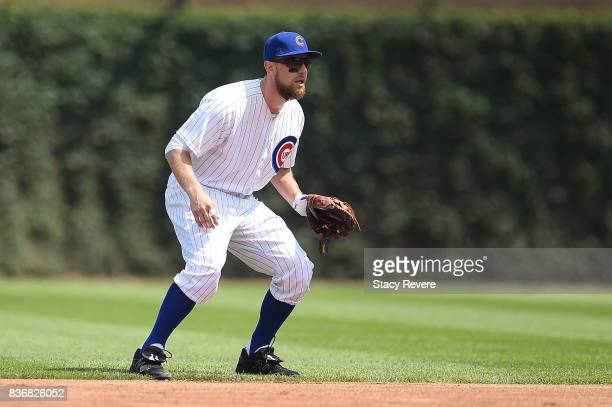 Ben Zobrist of the Chicago Cubs anticipates a pitch during a game against the Toronto Blue Jays at Wrigley Field on August 20 2017 in Chicago...