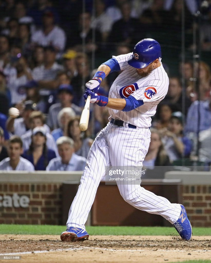 Ben Zobrist #18 of the Chicago Cubs hits a run scoring single in the9th inning against the Cincinnati Reds at Wrigley Field on August 15, 2017 in Chicago, Illinois. The Reds defeated the Cubs 2-1.