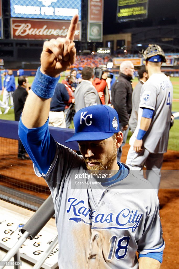 <a gi-track='captionPersonalityLinkClicked' href=/galleries/search?phrase=Ben+Zobrist&family=editorial&specificpeople=2120037 ng-click='$event.stopPropagation()'>Ben Zobrist</a> #18 of the Kansas City Royals celebrates after defeating the New York Mets by a score of 5-3 to win Game Four of the 2015 World Series at Citi Field on October 31, 2015 in the Flushing neighborhood of the Queens borough of New York City.