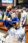 Ben Zobrist of the Kansas City Royals celebrates after defeating the New York Mets by a score of 53 to win Game Four of the 2015 World Series at Citi...