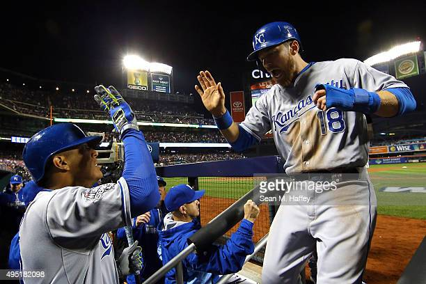 Ben Zobrist of the Kansas City Royals celebrates after scoring in the eighth inning against the New York Mets during Game Four of the 2015 World...