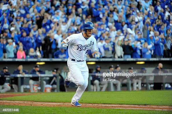 Ben Zobrist of the Kansas City Royals celebrates hitting an RBI single in the seventh inning against Will Harris of the Houston Astros to score...