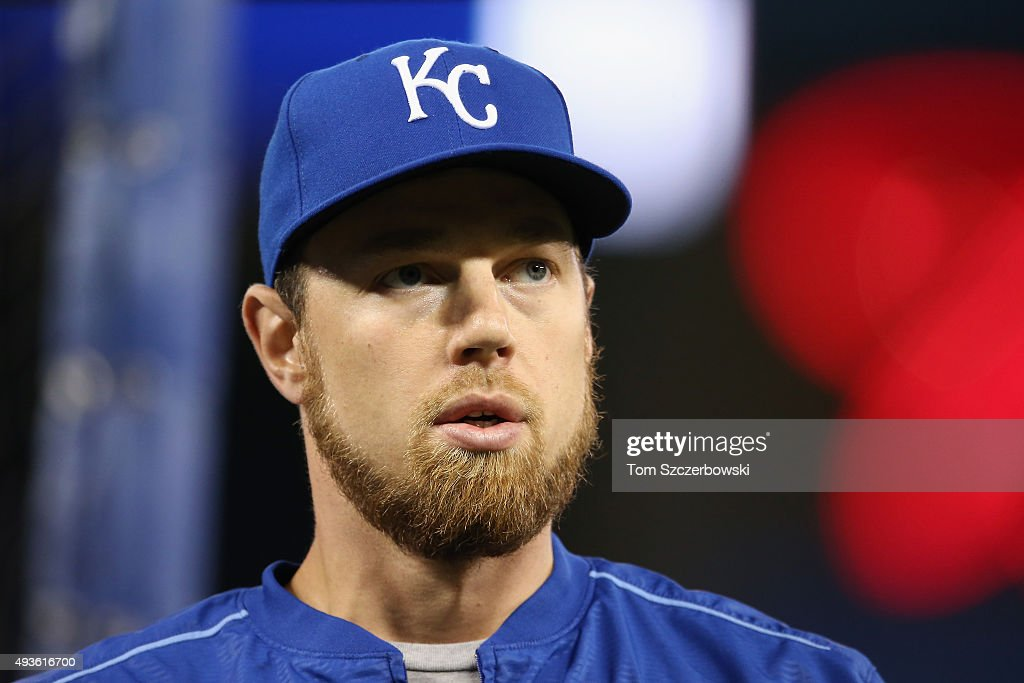 <a gi-track='captionPersonalityLinkClicked' href=/galleries/search?phrase=Ben+Zobrist&family=editorial&specificpeople=2120037 ng-click='$event.stopPropagation()'>Ben Zobrist</a> #18 of the Kansas City Royals looks on prior to game five of the American League Championship Series between the Toronto Blue Jays and the Kansas City Royals at Rogers Centre on October 21, 2015 in Toronto, Canada.