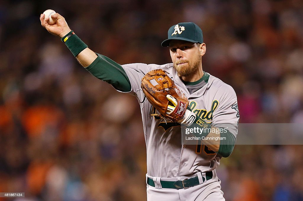 <a gi-track='captionPersonalityLinkClicked' href=/galleries/search?phrase=Ben+Zobrist&family=editorial&specificpeople=2120037 ng-click='$event.stopPropagation()'>Ben Zobrist</a> #18 of the Oakland Athletics throws the ball to first base to get the out of Gregor Blanco #7 of the San Francisco Giants in the fifth inning at AT&T Park on July 24, 2015 in San Francisco, California.