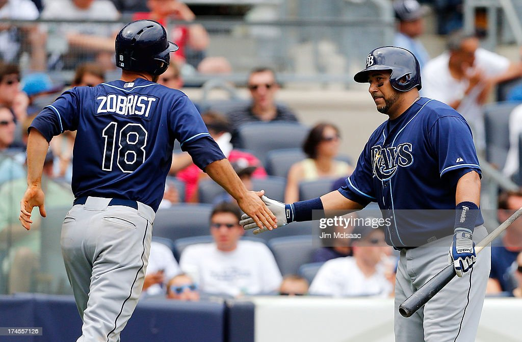 <a gi-track='captionPersonalityLinkClicked' href=/galleries/search?phrase=Ben+Zobrist&family=editorial&specificpeople=2120037 ng-click='$event.stopPropagation()'>Ben Zobrist</a> #18 of the Tampa Bay Rays celebrates his sixth inning run against the New York Yankees with teammate <a gi-track='captionPersonalityLinkClicked' href=/galleries/search?phrase=Jose+Molina&family=editorial&specificpeople=206365 ng-click='$event.stopPropagation()'>Jose Molina</a> #28 at Yankee Stadium on July 27, 2013 in the Bronx borough of New York City.