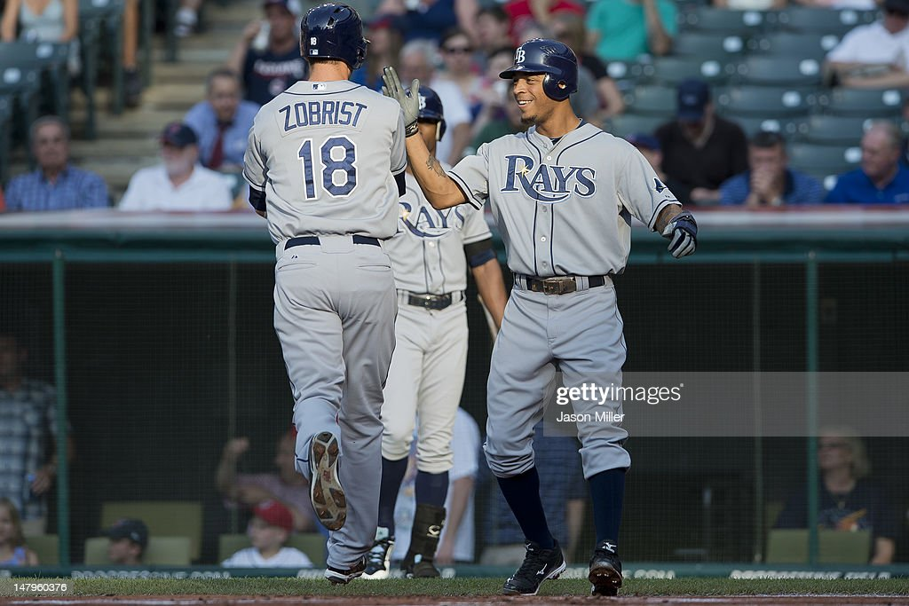 <a gi-track='captionPersonalityLinkClicked' href=/galleries/search?phrase=Ben+Zobrist&family=editorial&specificpeople=2120037 ng-click='$event.stopPropagation()'>Ben Zobrist</a> #18 of the Tampa Bay Rays celebrates with teammate <a gi-track='captionPersonalityLinkClicked' href=/galleries/search?phrase=Desmond+Jennings&family=editorial&specificpeople=5974085 ng-click='$event.stopPropagation()'>Desmond Jennings</a> #8 after both scored on a home run by Zorbist in the first inning against the Cleveland Indians at Progressive Field on July 6, 2012 in Cleveland, Ohio.