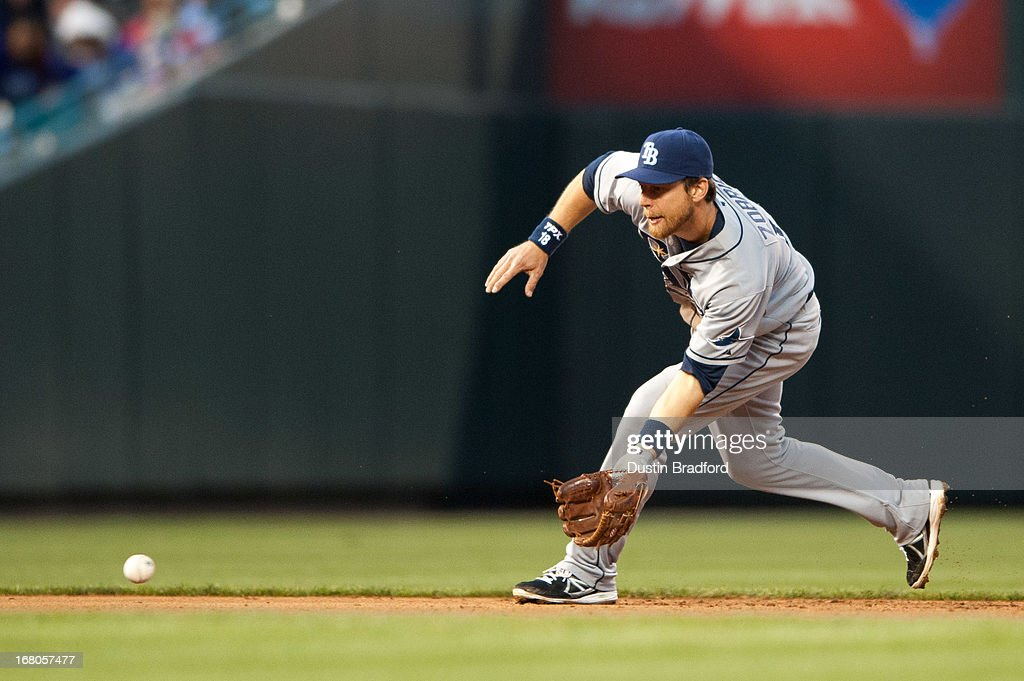 <a gi-track='captionPersonalityLinkClicked' href=/galleries/search?phrase=Ben+Zobrist&family=editorial&specificpeople=2120037 ng-click='$event.stopPropagation()'>Ben Zobrist</a> #18 of the Tampa Bay Rays fields a ground ball at shortstop against the Colorado Rockies at Coors Field on May 4, 2013 in Denver, Colorado.