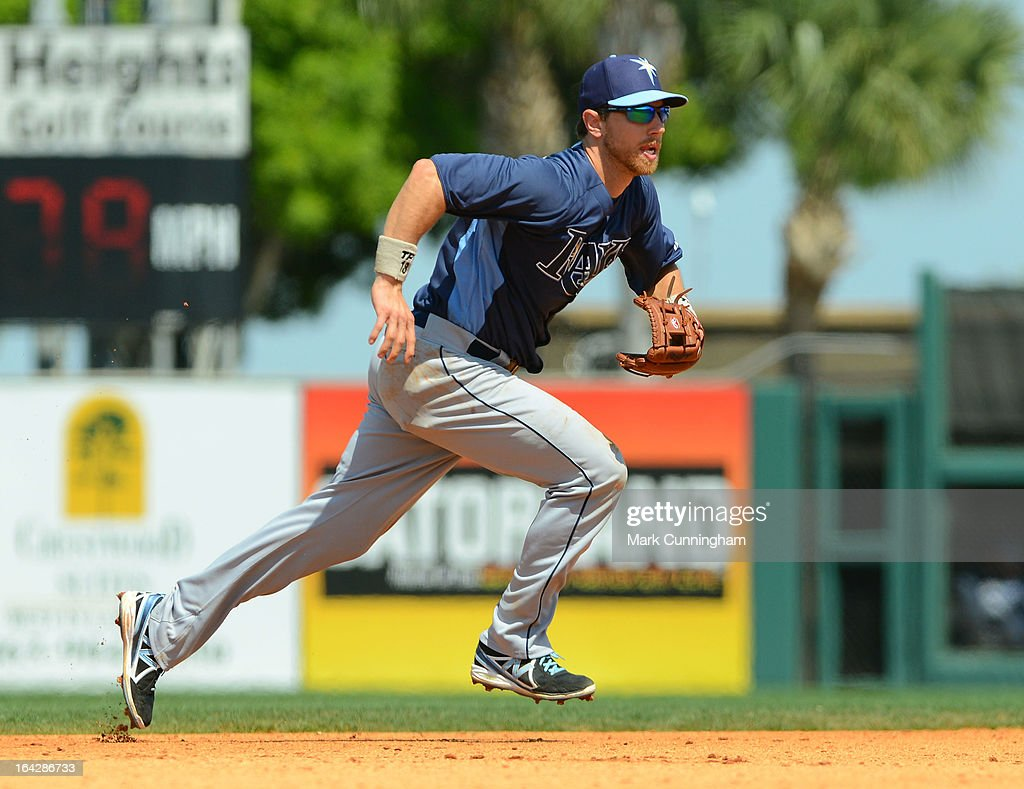 <a gi-track='captionPersonalityLinkClicked' href=/galleries/search?phrase=Ben+Zobrist&family=editorial&specificpeople=2120037 ng-click='$event.stopPropagation()'>Ben Zobrist</a> #18 of the Tampa Bay Rays fields during the spring training game against the Detroit Tigers at Joker Marchant Stadium on March 19, 2013 in Lakeland, Florida. The Rays defeated the Tigers 11-5.