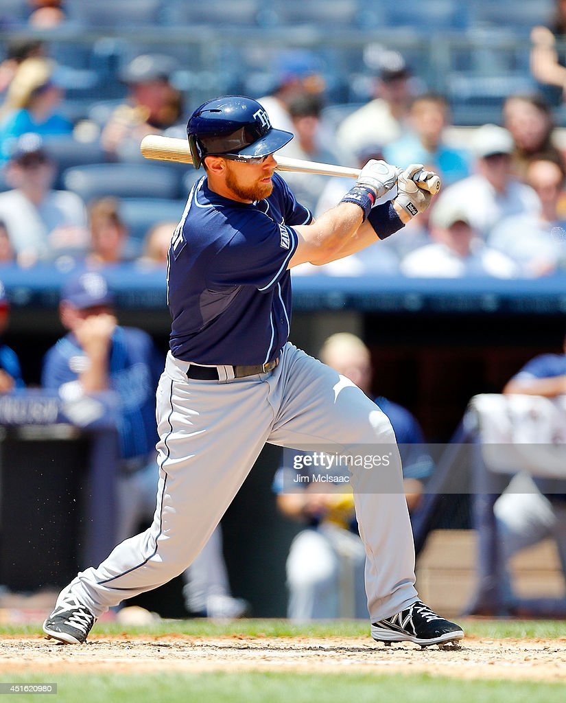 Ben Zobrist #18 of the Tampa Bay Rays follows through on a third inning double against the New York Yankees at Yankee Stadium on July 2, 2014 in the Bronx borough of New York City.