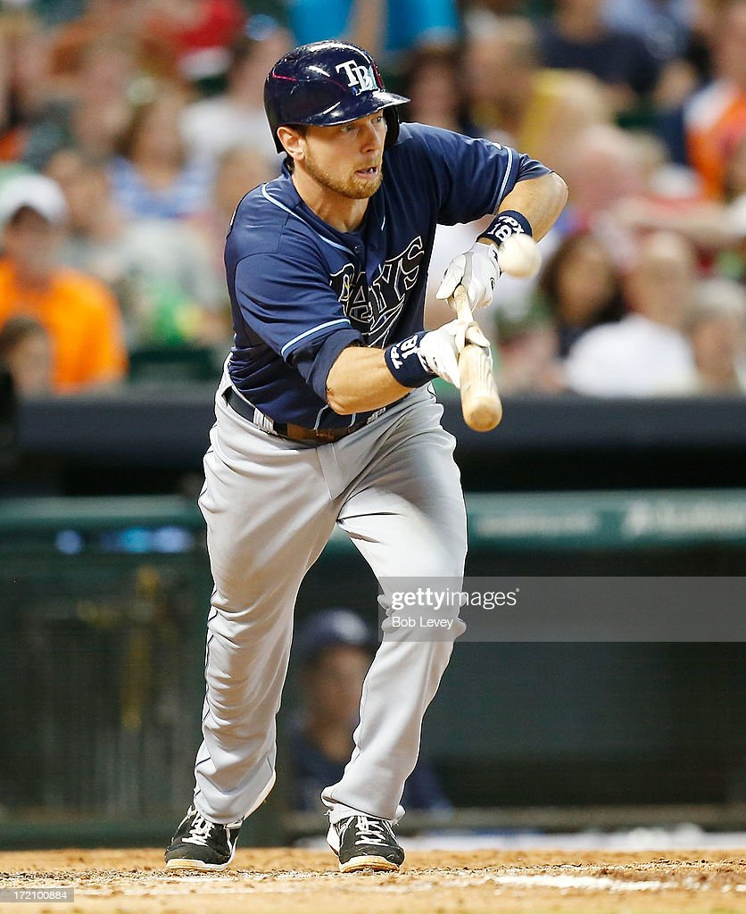 Ben Zobrist #18 of the Tampa Bay Rays fouls off a bunt attempt against the Houston Astros at Minute Maid Park on July 1, 2013 in Houston, Texas.