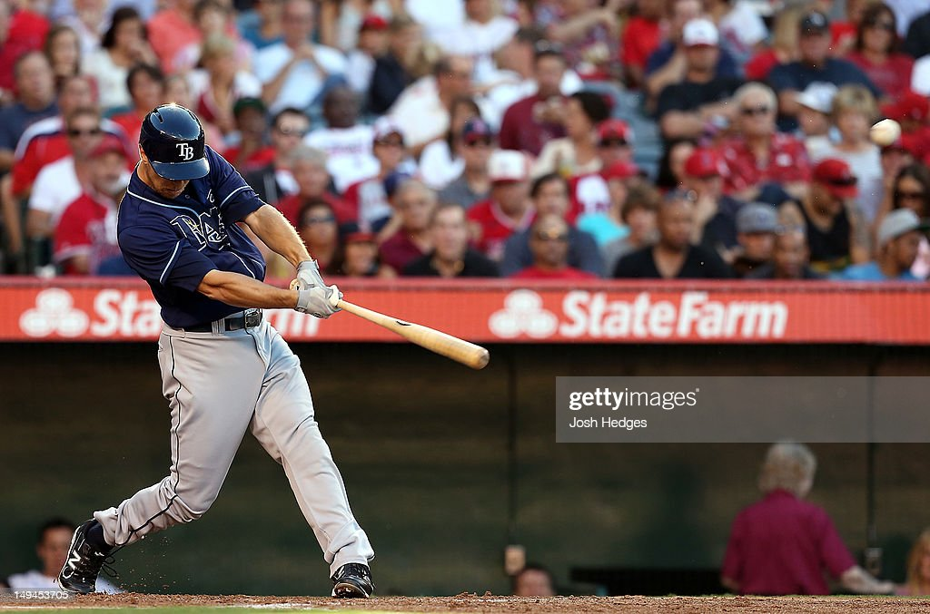 Ben Zobrist #18 of the Tampa Bay Rays hits a home run to center field in the third inning against the Los Angeles Angels of Anaheim at Angel Stadium of Anaheim on July 28, 2012 in Anaheim, California.
