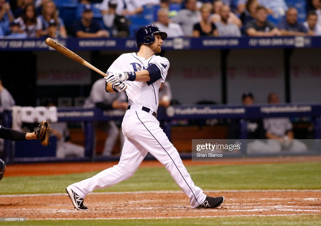<a gi-track='captionPersonalityLinkClicked' href=/galleries/search?phrase=Ben+Zobrist&family=editorial&specificpeople=2120037 ng-click='$event.stopPropagation()'>Ben Zobrist</a> #18 of the Tampa Bay Rays hits a walk off single with the bases loaded to score Logan Forsythe during the ninth inning of a game against the New York Yankees on September 15, 2014 at Tropicana Field in St. Petersburg, Florida.