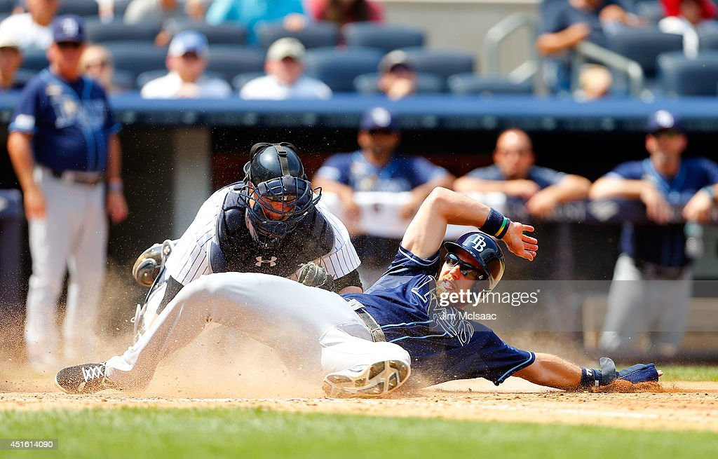 Ben Zobrist #18 of the Tampa Bay Rays is tagged out in the fifth inning by Brian McCann #34 of the New York Yankees at Yankee Stadium on July 2, 2014 in the Bronx borough of New York City.