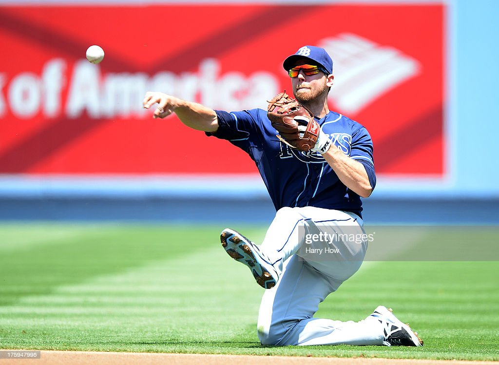 <a gi-track='captionPersonalityLinkClicked' href=/galleries/search?phrase=Ben+Zobrist&family=editorial&specificpeople=2120037 ng-click='$event.stopPropagation()'>Ben Zobrist</a> #18 of the Tampa Bay Rays makes a throw to first after a diving stop off of Nick Punto #7 of the Los Angeles Dodgers during the first inning at Dodger Stadium on August 10, 2013 in Los Angeles, California. Punto would be safe and later score in the inning.