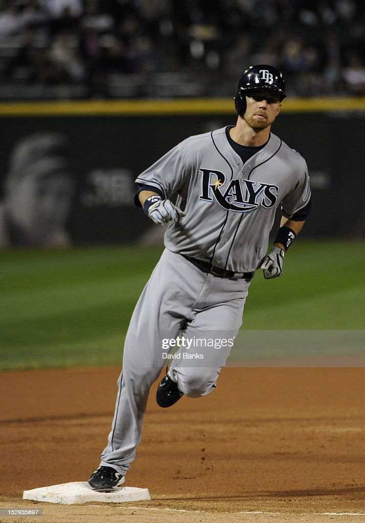 <a gi-track='captionPersonalityLinkClicked' href=/galleries/search?phrase=Ben+Zobrist&family=editorial&specificpeople=2120037 ng-click='$event.stopPropagation()'>Ben Zobrist</a> #18 of the Tampa Bay Rays runs the bases after hitting a home run in the first inning against the Chicago White Sox on September 28, 2012 at U.S. Cellular Field in Chicago, Illinois.