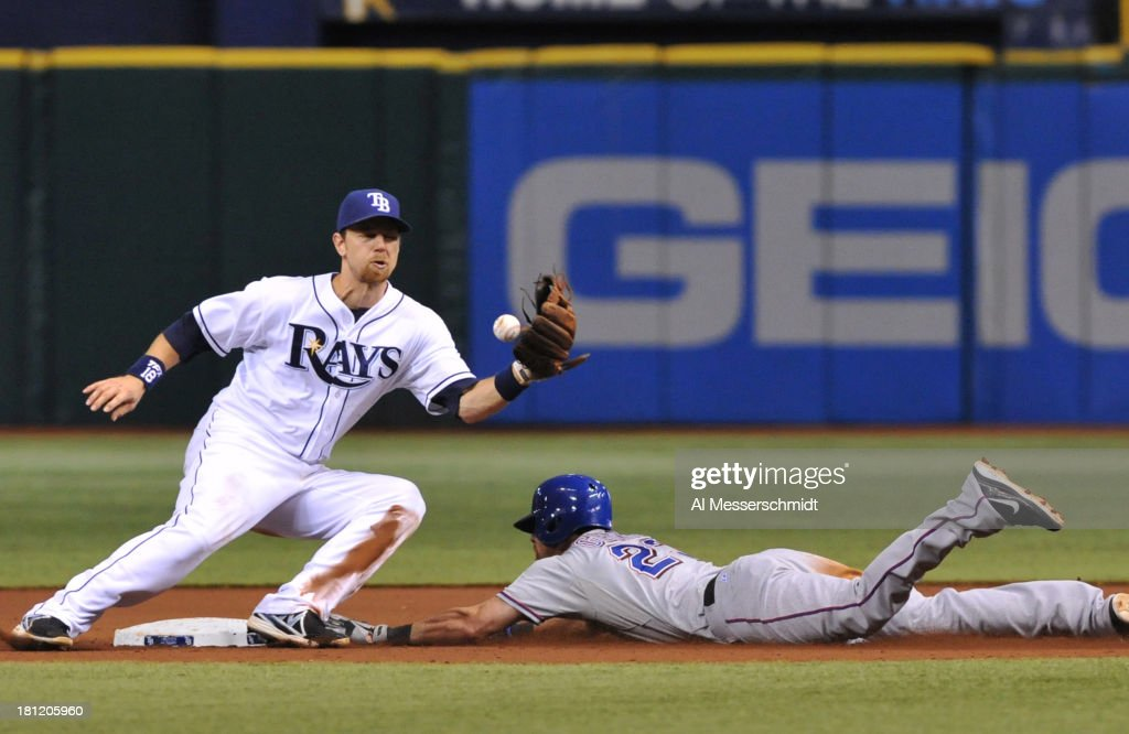 <a gi-track='captionPersonalityLinkClicked' href=/galleries/search?phrase=Ben+Zobrist&family=editorial&specificpeople=2120037 ng-click='$event.stopPropagation()'>Ben Zobrist</a> #18 of the Tampa Bay Rays takes a throw at second base against the Texas Rangers September 19, 2013 at Tropicana Field in St. Petersburg, Florida. Texas won 8 - 2.