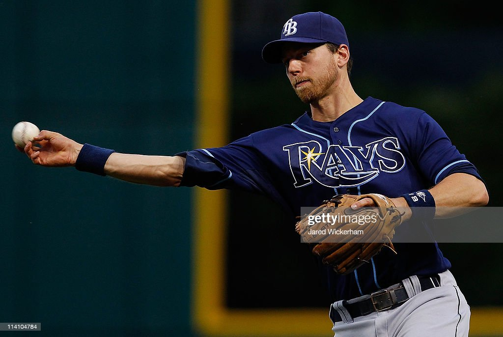 <a gi-track='captionPersonalityLinkClicked' href=/galleries/search?phrase=Ben+Zobrist&family=editorial&specificpeople=2120037 ng-click='$event.stopPropagation()'>Ben Zobrist</a> #18 of the Tampa Bay Rays throws to first base during the game against the Cleveland Indians on May 11, 2011 at Progressive Field in Cleveland, Ohio.