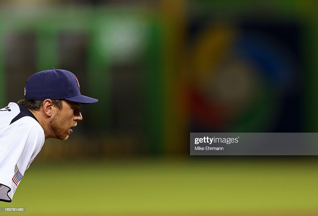 Ben Zobrist #12 of the United States looks on during a World Baseball Classic second round game against Puerto Rico at Marlins Park on March 15, 2013 in Miami, Florida.