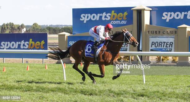 Benambra ridden by Dean Holland wins the Porter Plant Cup Heat 2 BM64 Handicap at SportsbetBallarat Racecourse on March 07 2017 in Ballarat Australia