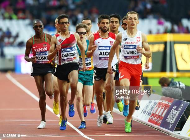 LR Benard Koskei of Kenya Amin Chentouf El of Morocco Bilel Aloui of Tunsia and Lukasz Wietecki of Poland compete Men's 1500m F13 Final during World...