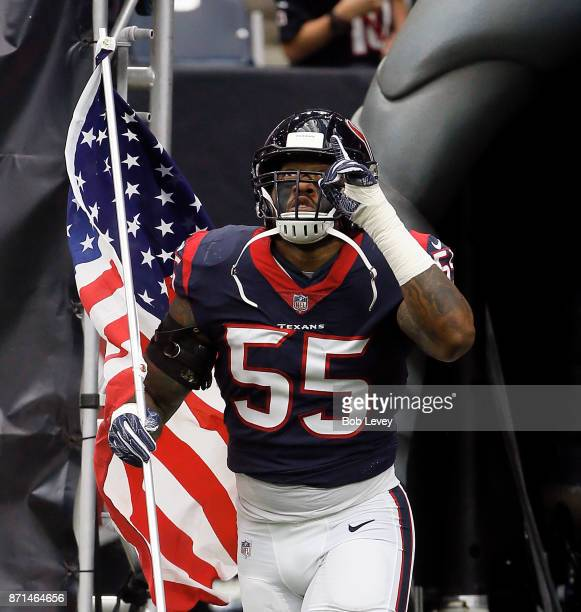 Benardrick McKinney of the Houston Texans introduced on Salute to Services day at NRG Stadium on November 5 2017 in Houston Texas Indianapolis Colts...