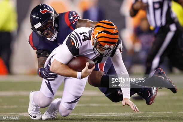 Benardrick McKinney of the Houston Texans sacks Andy Dalton of the Cincinnati Bengals during the first half at Paul Brown Stadium on September 14...