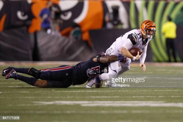 Benardrick McKinney of the Houston Texans sacks Andy Dalton of the Cincinnati Bengals during the second half at Paul Brown Stadium on September 14...