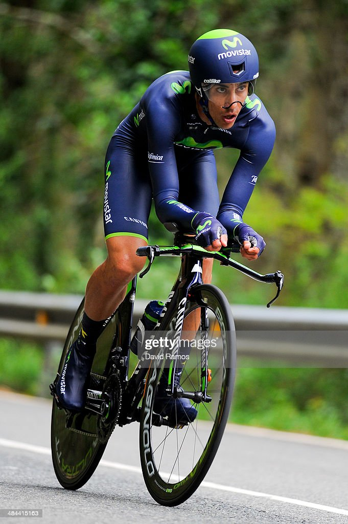 Benat Intxausti of Spain and Team Movistar in action during Stage Six of Vuelta al Pais Vasco on April 12, 2014 in Markina, Spain.
