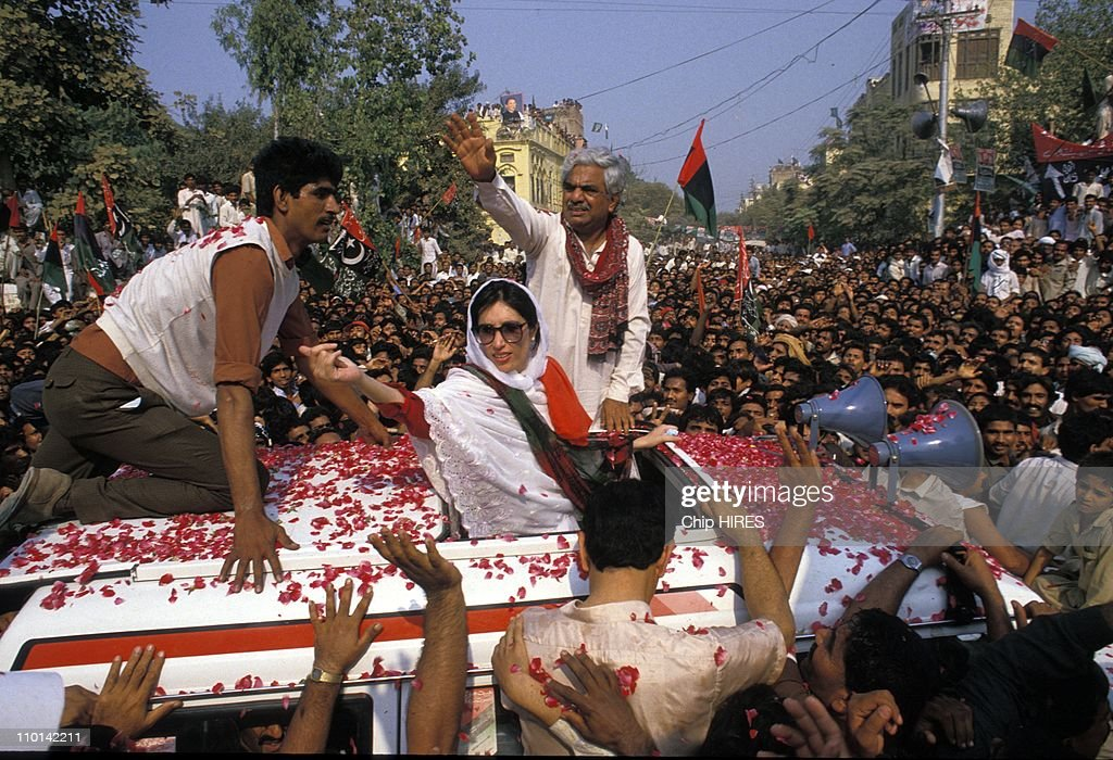 <a gi-track='captionPersonalityLinkClicked' href=/galleries/search?phrase=Benazir+Bhutto&family=editorial&specificpeople=202012 ng-click='$event.stopPropagation()'>Benazir Bhutto</a> on election campaign in Punjab, Pakistan in January 16,1988.