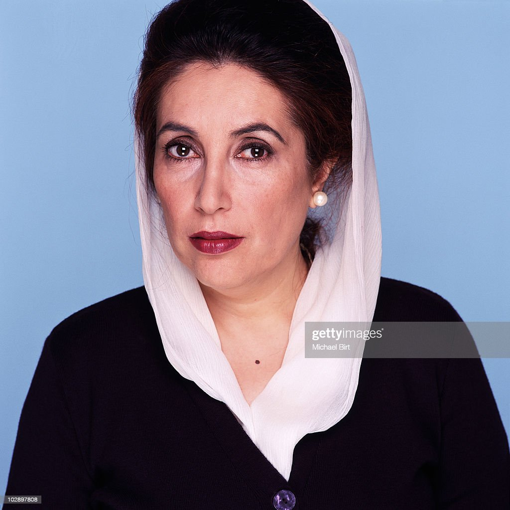 Benazir Bhutto poses for a portrait shoot in London.