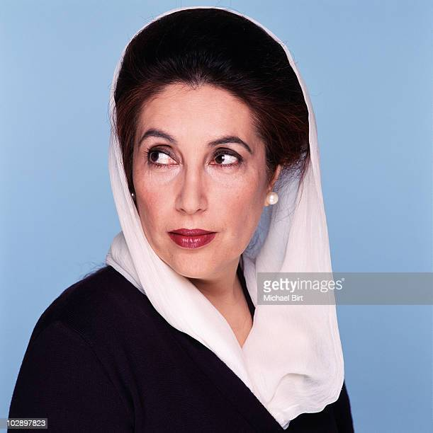Benazir Bhutto poses for a portrait shoot in London