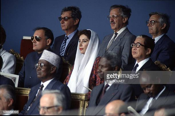 Benazir Bhutto with Rajiv Gandhi on her right in Paris France on July 13th 1989