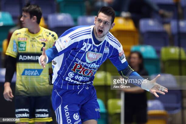 Bence Banhidi of Szeged celebrates a goal during the EHF Champions League match between Rhein Neckar Loewen and MolPick Szeged at FraportArena on...
