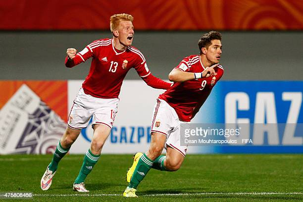 Bence Mervo of Hungary celebrates scoring the first goal of the game during the FIFA U20 World Cup New Zealand 2015 Group E match between Hungary and...