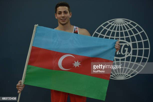 Bence Talas of Azerbaijan celebrates after finishing the competition in the Men's Horizontal Bar final in Artistic Gymnastics during day four of Baku...