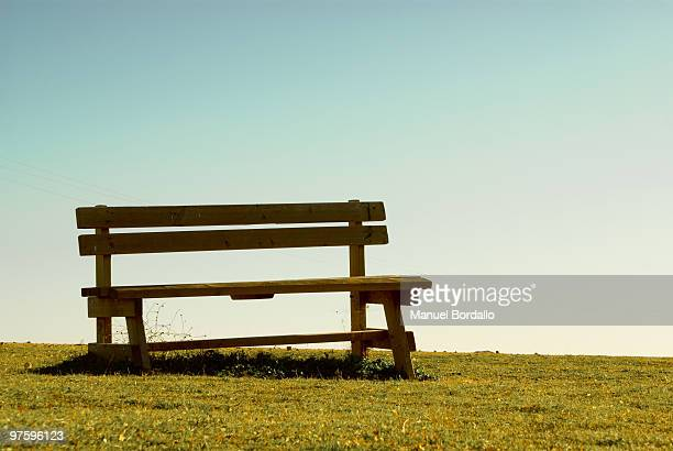 Bench against clear sky