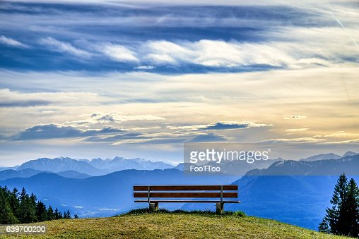 bench at a mountain : Photo