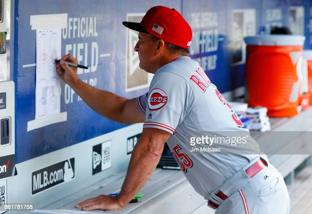Bench coach Jim Riggleman of the Cincinnati Reds in action against the New York Mets at Citi Field on September 10 2017 in the Flushing neighborhood...