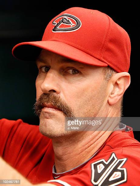 Bench coach Kirk Gibson of the Arizona Diamondbacks watches his team against the Tampa Bay Rays during the game at Tropicana Field on June 27 2010 in...